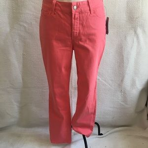 NYJD Skinny Ankle High Rise Stretchy Jeans Coral 8